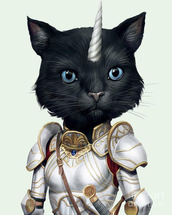 Unicorn Poster featuring the digital art Unicorn Black Cat by Trindira A