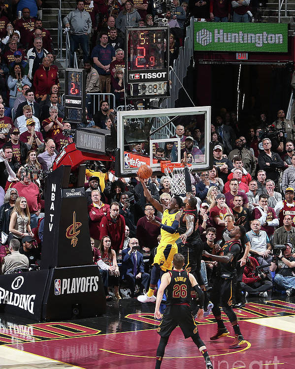 Playoffs Poster featuring the photograph Victor Oladipo and Lebron James by Nathaniel S. Butler