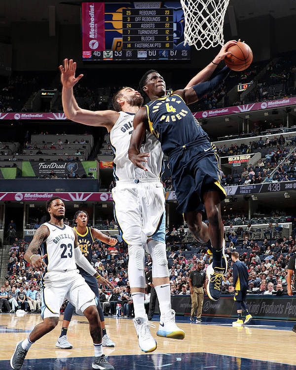 Nba Pro Basketball Poster featuring the photograph Victor Oladipo and Marc Gasol by Joe Murphy