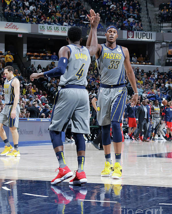 Nba Pro Basketball Poster featuring the photograph Victor Oladipo and Myles Turner by Ron Hoskins
