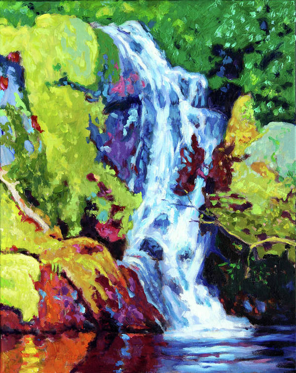 Waterfall Poster featuring the painting Waterfall by John Lautermilch