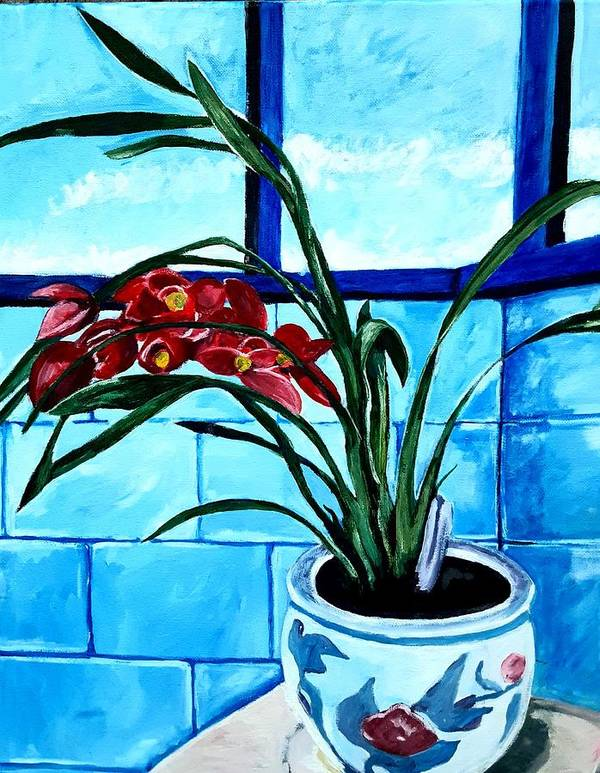 Still Life Poster featuring the painting Welcome Flower by Andrew Johnson