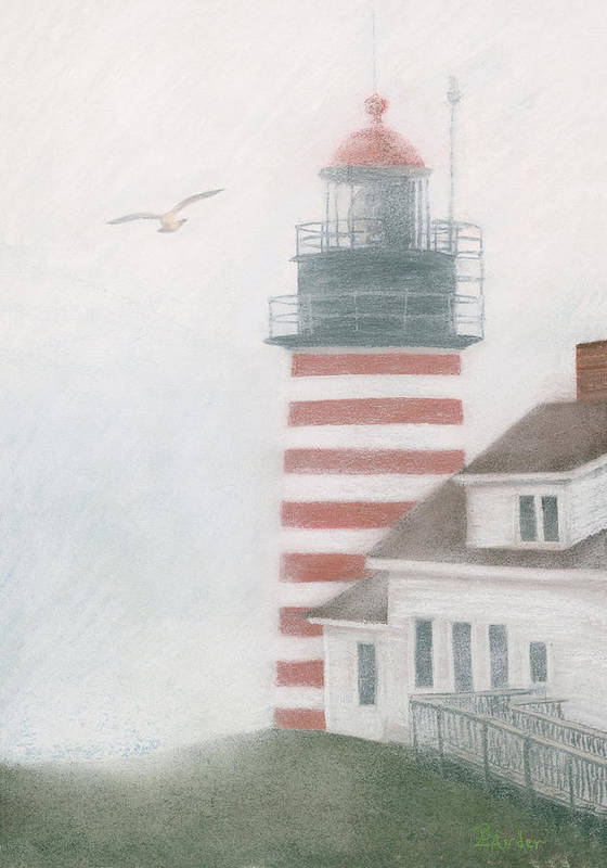 Lighthouse Poster featuring the pastel West Quoddy Head Lighthouse by Brent Ander