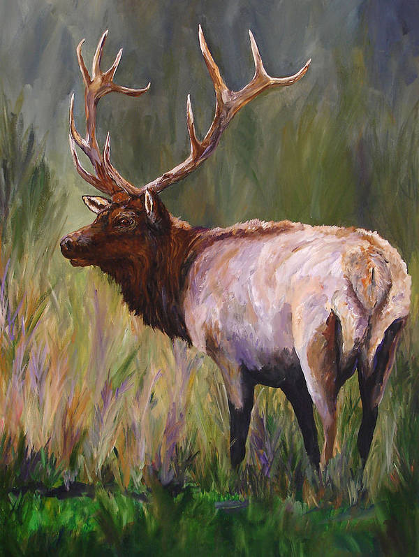 Elk Wildlife Art Poster featuring the painting Whapiti - ELK Now Avaliable by Mary Jo Zorad