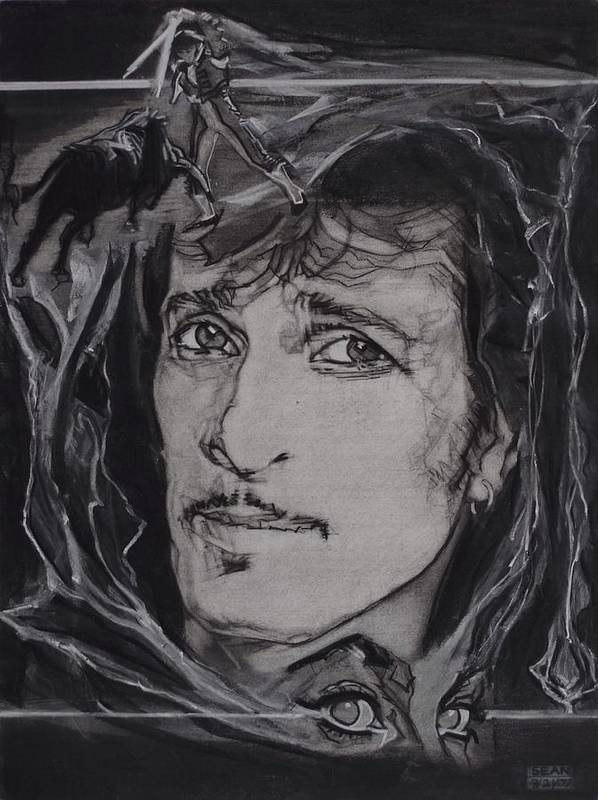 Charcoal On Paper Poster featuring the drawing Willy DeVille - Coup de Grace by Sean Connolly