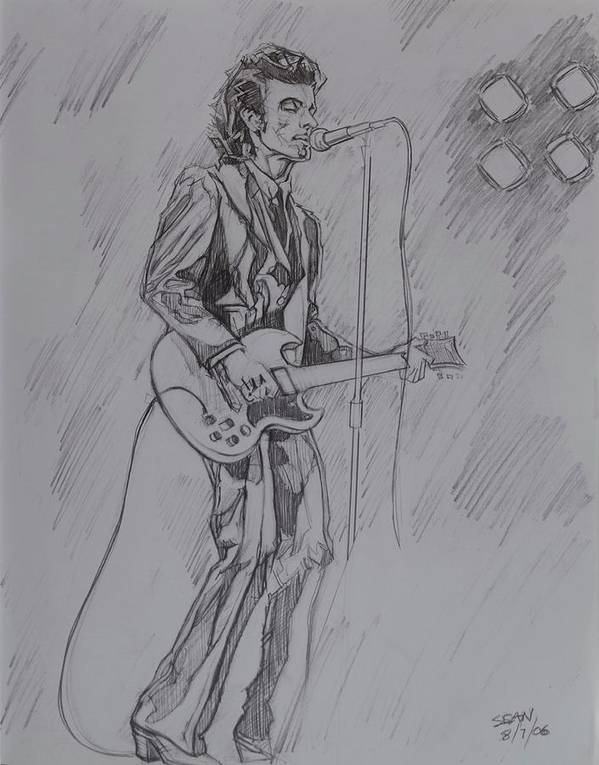 Pencil Poster featuring the drawing Willy DeVille - Steady Drivin' Man by Sean Connolly