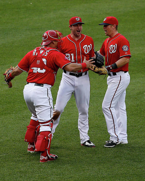 People Poster featuring the photograph Wilson Ramos, Max Scherzer, and Tyler Moore by Rob Carr
