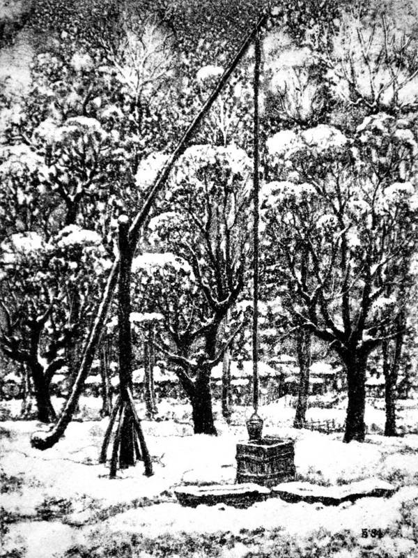 Winter Poster featuring the drawing Winter Landscape by Iliyan Bozhanov