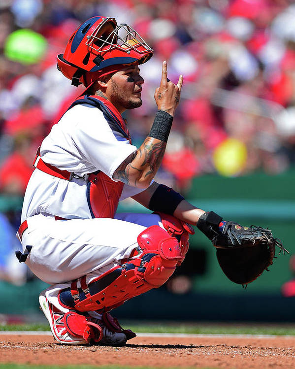 St. Louis Cardinals Poster featuring the photograph Yadier Molina by Jeff Curry