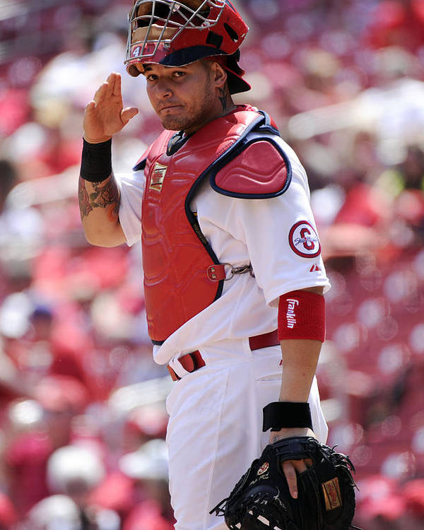St. Louis Cardinals Poster featuring the photograph Yadier Molina by Ron Vesely