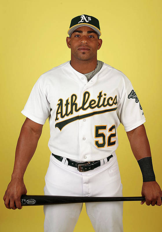Media Day Poster featuring the photograph Yoenis Cespedes by Christian Petersen