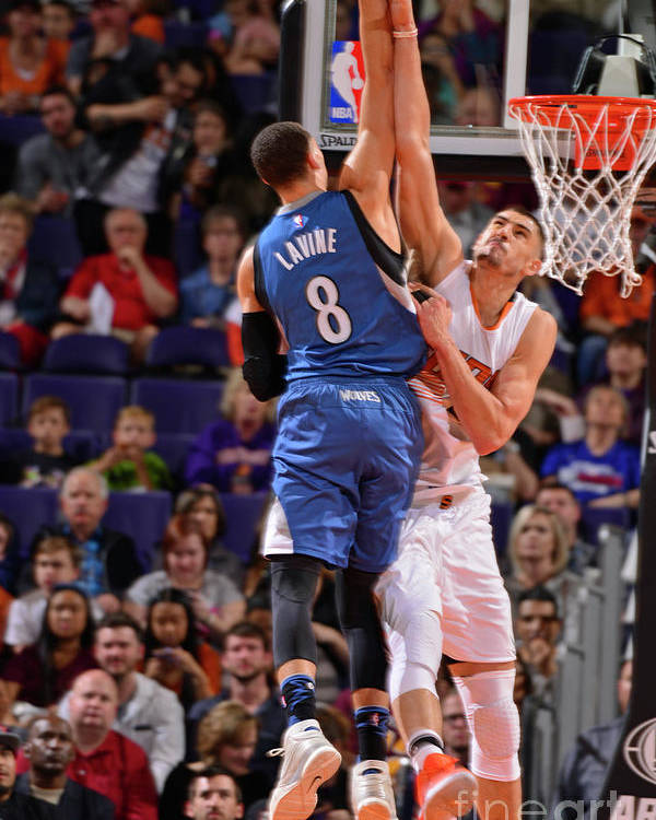 Nba Pro Basketball Poster featuring the photograph Zach Lavine and Alex Len by Barry Gossage