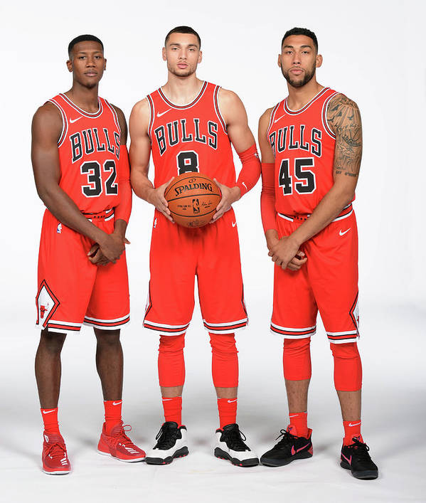 Media Day Poster featuring the photograph Zach Lavine, Kris Dunn, and Denzel Valentine by Randy Belice