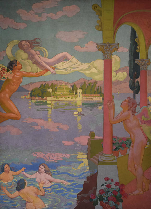 1907 Commission Poster featuring the painting Zephyr Transporting Psyche to the Island of Delight by Maurice Denis