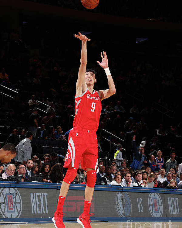 Nba Pro Basketball Poster featuring the photograph Zhou Qi by Nathaniel S. Butler
