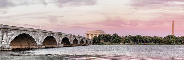 Photography Poster featuring the photograph Arlington Memorial Bridge With Lincoln by Panoramic Images