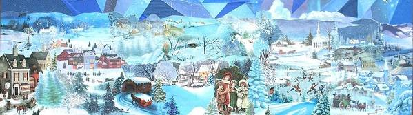 Blue Tinted Landscape; Snow; Village Poster featuring the mixed media December Evening Landscape - SOLD by Judith Espinoza
