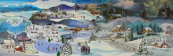 Landscape Poster featuring the mixed media Purple Twilight on Snow- SOLD by Judith Espinoza