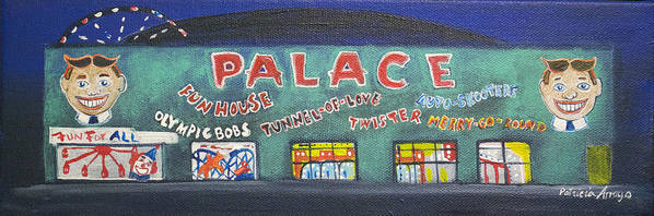 Tillie Of Asbury Park Poster featuring the painting The Tiny Tiny Palace by Patricia Arroyo