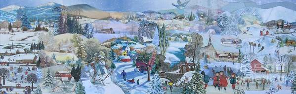 Snow Scene Poster featuring the mixed media Winter Fun - SOLD by Judith Espinoza