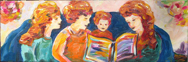 Family Reading Poster featuring the painting A Good Read by Naomi Gerrard