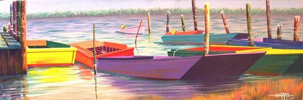 Boats Poster featuring the painting Bateau Mystique by Hugh Harris