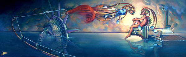 Mermaid Poster featuring the painting Daphnis And Chloe by Patrick Anthony Pierson
