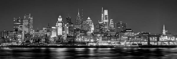Philadelphia Skyline At Night Poster featuring the photograph Philadelphia Philly Skyline at Night from East Black and White BW by Jon Holiday