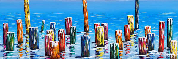 River Poster featuring the painting Rainbow Pilings by Hugh Harris