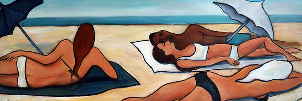 Beach Poster featuring the painting Stretch of Beach by Valerie Vescovi