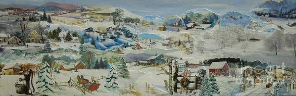 Winter Poster featuring the mixed media Water Pump in Winter - SOLD by Judith Espinoza