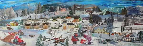 Snow Poster featuring the mixed media Winter Play - SOLD by Judith Espinoza