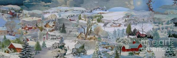 Landscape Poster featuring the mixed media Lazy Snowy Afternoon - SOLD by Judith Espinoza