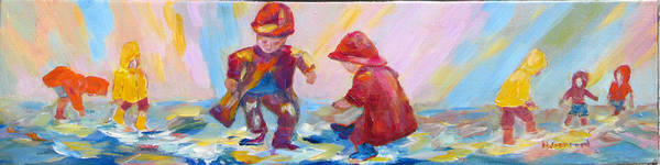 Kids Poster featuring the painting Puddle Jumpers II by Naomi Gerrard