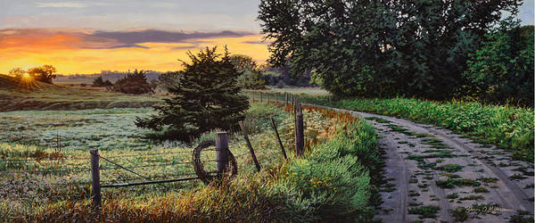 Landscape Poster featuring the painting Daybreak Southwest Corner Fenceline by Bruce Morrison
