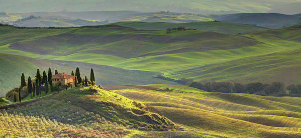 Scenics Poster featuring the photograph First Light In Tuscany by Maurice Ford