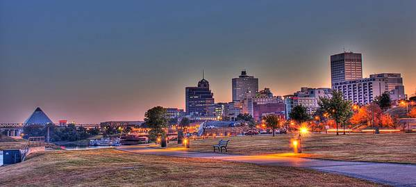 Memphis Poster featuring the photograph Cityscape - Skyline - Memphis at Dawn by Barry Jones