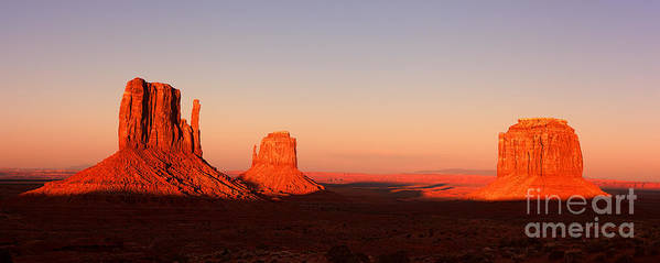 Monument Poster featuring the photograph Monument valley sunset pano by Jane Rix