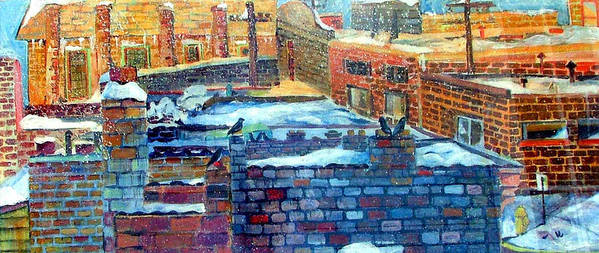 Winter Poster featuring the painting Snowy Roof Tops by Mindy Newman