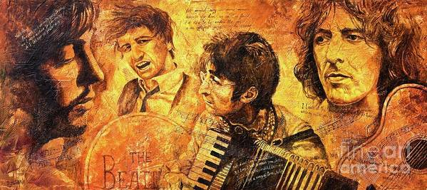The Beatles Poster featuring the painting The Best Forever by Igor Postash