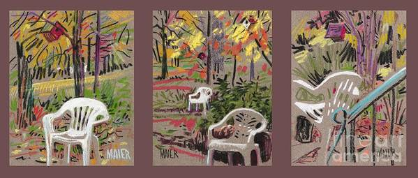 Pastel Poster featuring the drawing White Chairs and Birdhouses 1 by Donald Maier