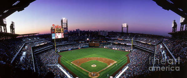Panoramic Poster featuring the photograph Montreal Expos V Philadelphia Phillies by Jerry Driendl