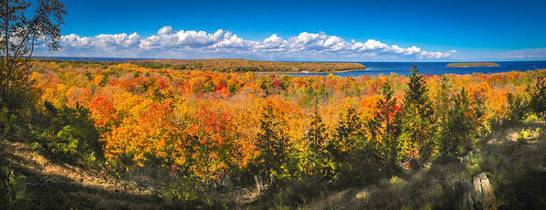 Door County Poster featuring the photograph Autumn Vistas of Nicolet Bay by Ever-Curious Photography