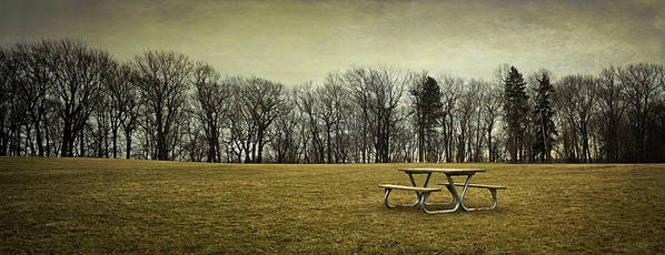 Picnic Table Poster featuring the photograph No More Picnics by Scott Norris