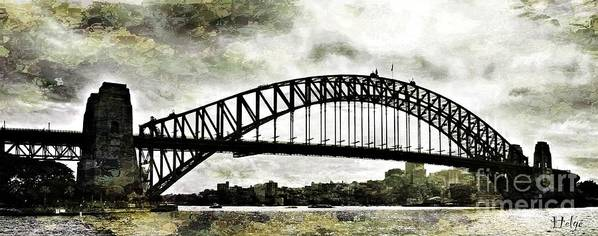 Sydney Poster featuring the painting The Bridge Spattled by HELGE Art Gallery