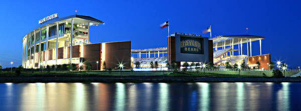 #baylornation Poster featuring the photograph Mclane Stadium Panoramic by Stephen Stookey