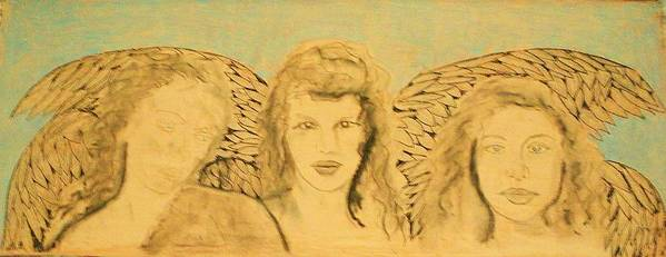 Angels Poster featuring the drawing Song of the Sisters Unfinished by J Bauer
