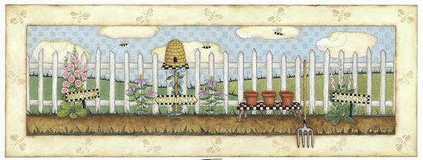 A White Picket Fence With A Bee Hive And Holly Hocks In Front Poster featuring the painting Beehive Fence by Robin Betterley