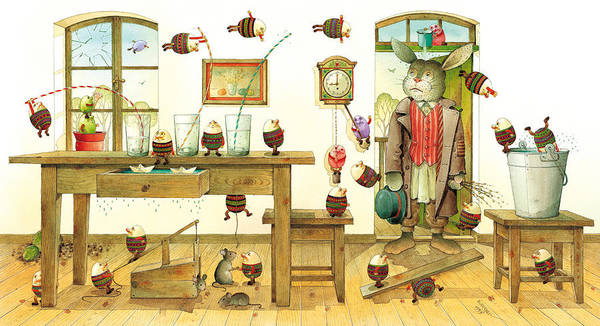 Easter Eggs Spring Rabbit Poster featuring the painting Eastereggs 01 by Kestutis Kasparavicius