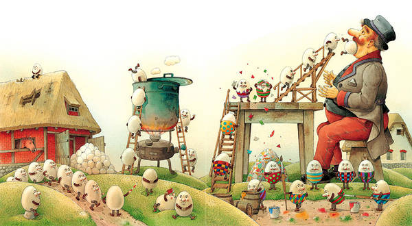 Easter Eggs Spring Green Landscape Breakfast Poster featuring the painting Eastereggs 07 by Kestutis Kasparavicius